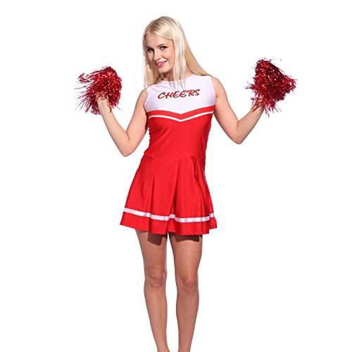 Cheerleader Kostuem Uniform Cheerleading Cheer Leader mit 2 Pompons Minirock GOGO Damen Maedchen Karneval Fasching