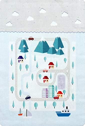 Livone Spielteppich Spielmatte Straßenteppich PLAYLOVE Mountain grau waschbar Größe 90 x 130 cm