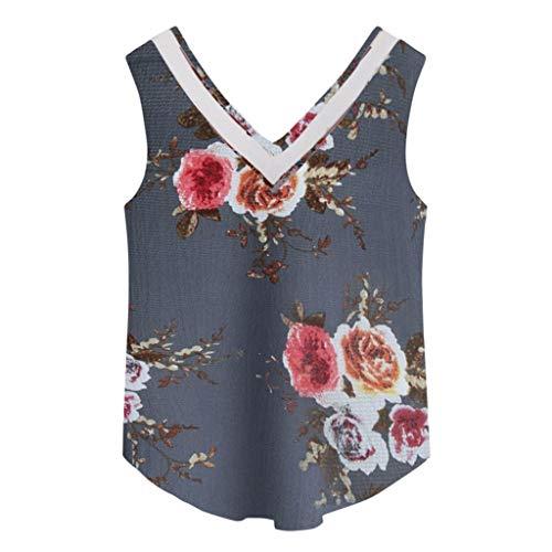 Weste Frauen Casual V-Ausschnitt Sleeveless Hollow Floral Crop Top Weste Tank Shirt Bluse Sling Top - Floral Rib Tank