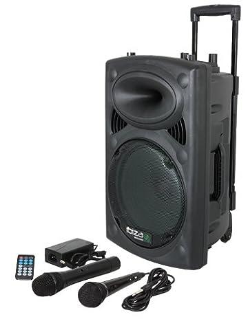Ibiza 15-6018 Mobile Beschallungsanlage 25 cm (10 Zoll) mit USB-MP3, BT, REC, VOX, 1 VHF und 1 (Pro Pa Lautsprecher)