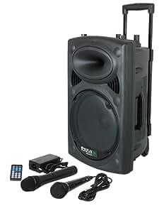 Ibiza Port10VHF-BT-WH Impianto audio portatile cassa attiva (500 Watt, ingressi USB SD MP3, 2 microfoni, cuffie, batteria integrata, telecomando) - nero