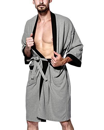 Albornoz para Unisex Waffle Super Suave Pijama,Túnica Mujer Batas Hombre Ropa de Dormir Robe Gris Negro XL