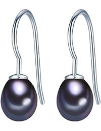 Valero Pearls Damen-Ohrhänger Classic Collection Süßwasser-Zuchtperlen 8mm Tropfenform schwarz 925 Sterling Silber 354023