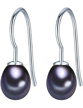 Valero Pearls Damen-Ohrhänger Classic Collection Süßwasser-Zuchtperlen 8mm Tropfenform schwarz 925 Sterling Silber