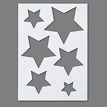 efco. Plantilla de plástico con 6 diseños de Estrellas, Transparente, ...
