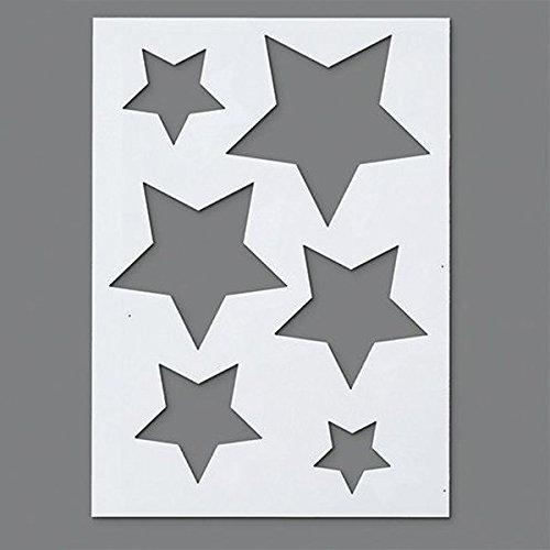 efco Schablone mit Sternmotiv, 6Designs, aus Kunststoff, transparent, DIN A5 - Stern-schablonen