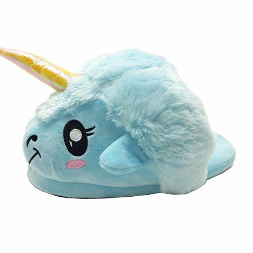 Pantofole Di Unicorno Unicorno Peluche Pantofole Per Bambini / Adulti Blu