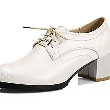 64fa6f338 ZQ hug Zapatos de mujer-Tacón Robusto-Punta Redonda-Oxfords-Exterior    Oficina y Trabajo   Casual   Fiesta y Noche   Vestido-Semicuero-Negro   ...