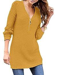 88779e5d4640 Yidarton Damen Elegant Pullover Kleid V-Ausschnitt Langarm Casual  Strickkleid Minikleid mit Reißverschluss