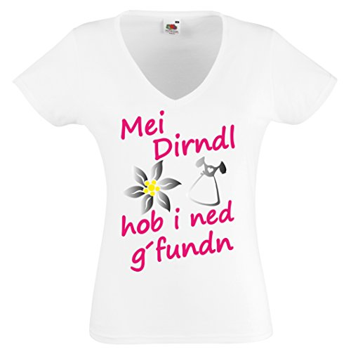 Mei Dirndl hob i ned g´funden V-Neck Damen T-Shirt Gr.S - XXL Oktoberfest Wiesn Gaudi Weiss-Neonpink-Silber