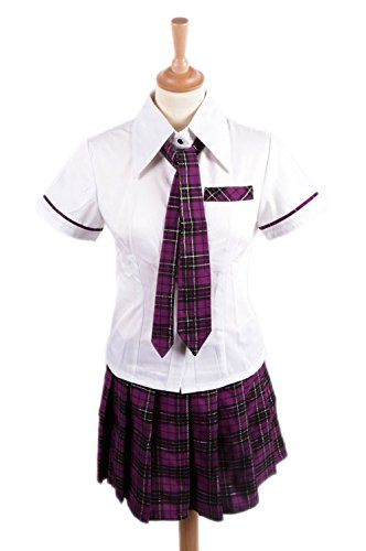 Black Sugar XL Violet - Ensemble Uniforme Écolière Japonaise Chemisier Jupe Cravate Sailor Fuku Costume Déguisement Cosplay Livraison 48H Expédié De Paris