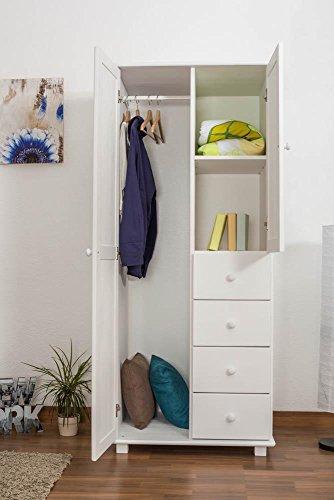 Landhaus-Stil Kiefer-Kleiderschrank, Farbe: Weiß 190x80x60 cm