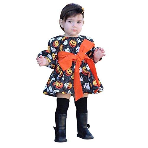 QinMM Kleinkind Infant Baby Mädchen Kürbis Geist Print Kleider Halloween Kostüm Outfits Kleidung Set Knie-Länge Nette Schwarz für 12 Monate-5 Jahre (4T, Schwarz)