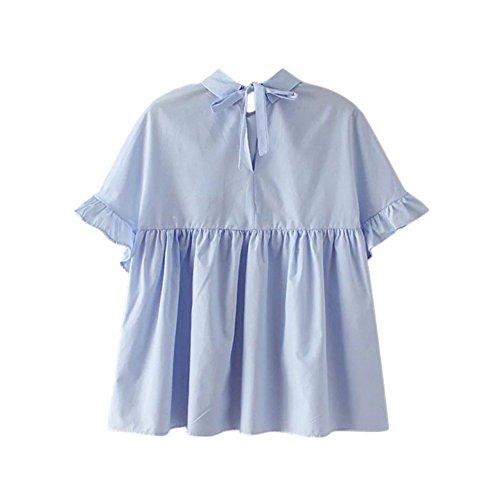 Etosell Femmes Loose Chemisier D'ete Casual Hauts De T-Shirt Bleu
