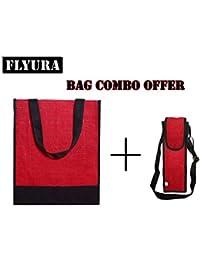 Flyura Stylish Jute Lunch Bag Tote Bag Handbag Shopping Bag Picnic Bag Everyday Bag For Men & Women