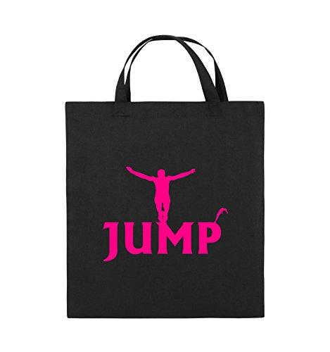Comedy Bags - JUMP - FIGUR - Jutebeutel - kurze Henkel - 38x42cm - Farbe: Schwarz / Pink Schwarz / Pink