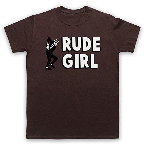 Rude Girl Jamaican Street Culture Slogan Herren T-Shirt Braun