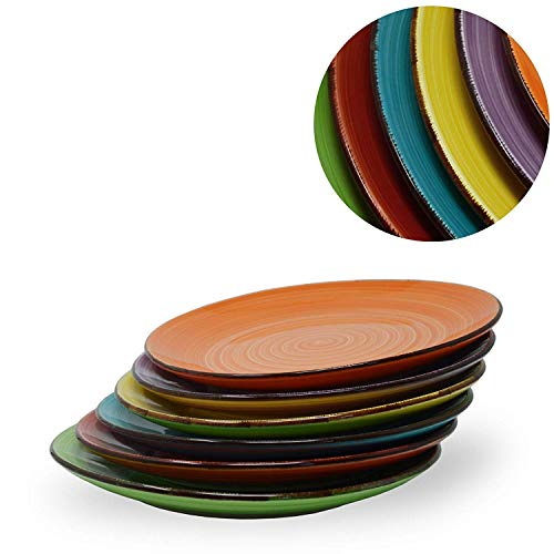 DRULINE 6er Set Kombisservice Uni: Küchenteller Orange, Blau, Gleb, Grün, Lila