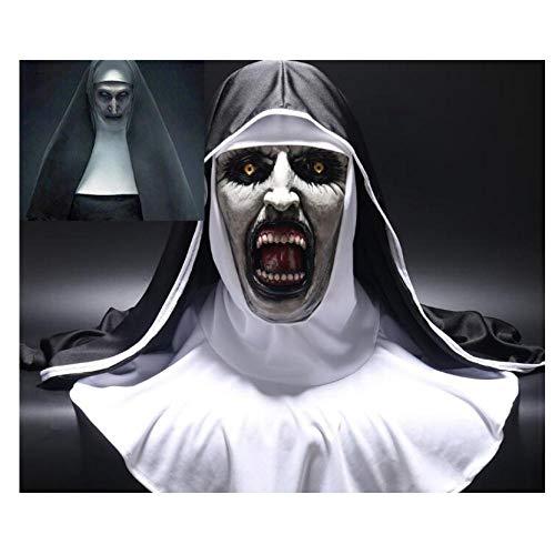 YAX Masken Die Nonne Horror Maske Valak Scary Latex Masken Mit Kopftuch Schleier Kapuze Integralhelm Horror Kostüm Halloween - Nonne Kostüm Mit Maske