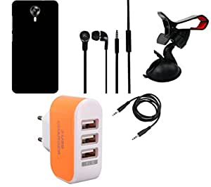 NIROSHA Cover Case Headphone Mobile Holder Charger for Micromax Canvas Express 2 - Combo
