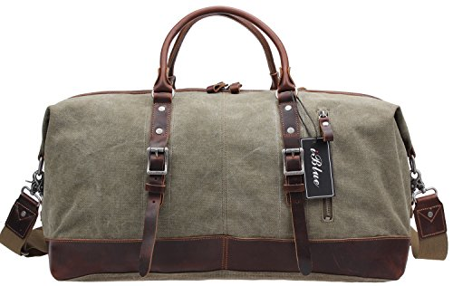 (Echtes Leder Reise Tote Duffel Garment Gym Schulter Handtasche Large Canvas ÜBER Nacht Weekend Bag # d-003)