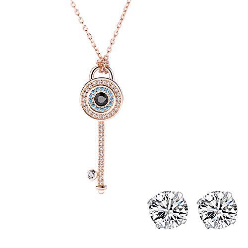 Zeitenwende Roségold 925 Silber Damenkette - Zirkonia-Anhänger Evil Eye Key - Mit Geschenkbox, kostenlosen Ohrsteckern, 2 Jahre Garantie - Echtes Silberschmuck-Geschenk für Frauen, Freundin, usw
