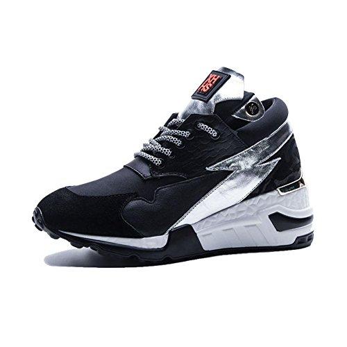 Suola Spessa Piattaforma Donna WSXY-A2202 Sneakers Fitness Interior all'Aperto,KJJDE nero