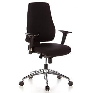 hjh OFFICE 608000 Profi Bürostuhl PRO-TEC 200 Stoff Schwarz Drehstuhl ergonomisch, Arm- & Rückenlehne verstellbar