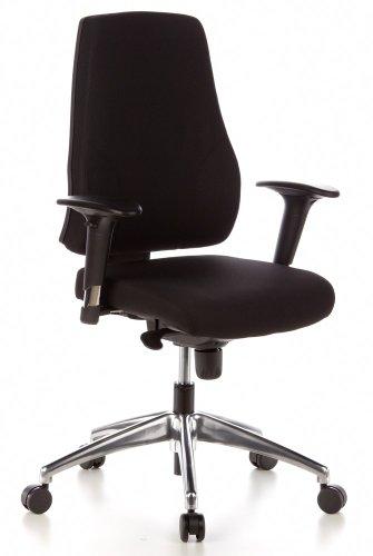 hjh OFFICE 608000 Bürostuhl Drehstuhl PRO-TEC 200 Stoff schwarz, Bürodrehstuhl ergonomisch, gute feste Polsterung, Rückenlehne höhenverstellbar, verstellbare Armlehnen, Schreibtischstuhl, Büro Sessel - Verstellbare Armlehnen