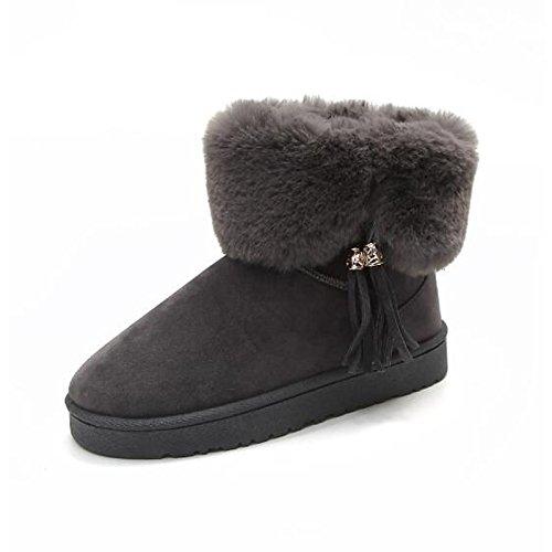 HSXZ Scarpe donna tessuto poliammide Fall Winter Snow Boots stivali tacco piatto rotondo Mid-Calf Toe stivali per Casual grigio nero rosa Black