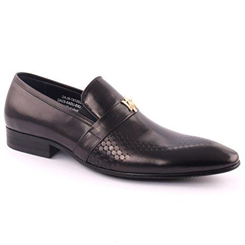 'gordman' Homens Oz Couro Perfurado Slip-on De Casamento Prom Sapatos Celebração Escritório Vestido Formal, Uk Tamanho 7-11 - H398-205h Preto