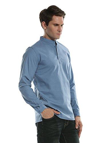Coofandy camicia casual uomo manica lunga slim fit collo coreano tinta unita lino estate blu s