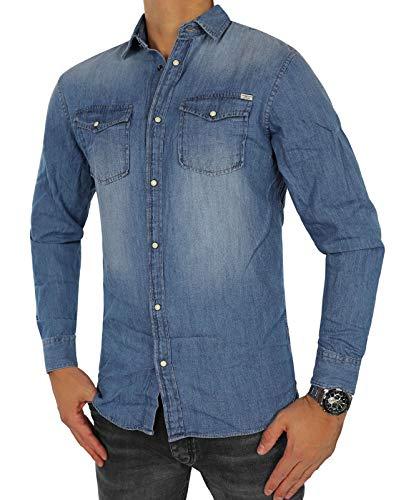 JACK & JONES Herren Jeanshemd Jjesheridan Shirt L/S (L, Blau (Medium Blue Denim Fit:Slim))