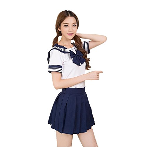 Cute School Girl Kostüm - Colorfulworld Schuluniform Schulmädchen Kostüm Sailor Anime Cosplay School Uniform Fasching costume für Erwachsene (L, dark blue)