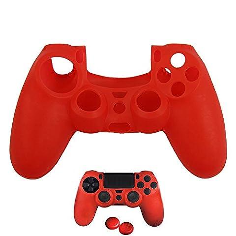 ASIV Silicone Étui Souple en Caoutchouc Revêtement en Peau Gel Accessoires de Jeux avec Deux Poignées de Pouce pour Contrôleur de PS4 Rouge