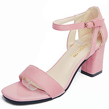 LvYuan Da donna Sandali Cashmere Estate Footing Più materiali Quadrato Nero Rosa 7,5 - 9,5 cm Black