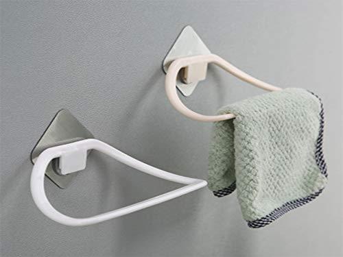 DLYZM Handtuchring Ohne Bohren,Handtuchhalter Static-Loc Wand Bad Regal Befestigen Wasserdicht and Rostfrei für Badezimmer WC Küche Ablage (8.2 * 6.4 * 9.5cm), White -