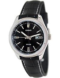 Casio LTP-1302L-1A - Reloj analógico de cuarzo para mujer, correa de cuero color negro
