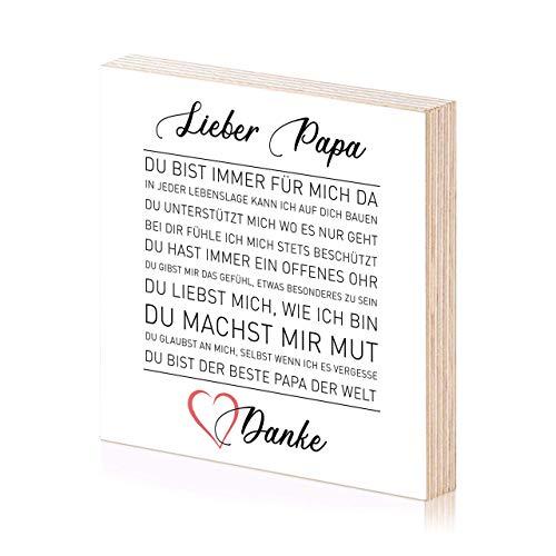 Danke lieber Papa Holzbild 15x15 Spruch auf Holz als Geschenk für Papa Papas Dad Vater oder Geschenkidee zum Geburtstag Vatertag Geburtstagsgeschenk Danksagung