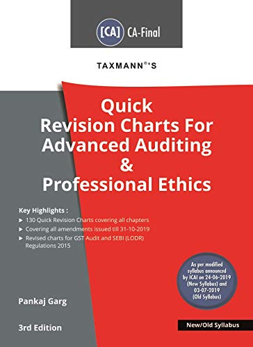 Taxmann's Quick Revision Charts For Advanced Auditing & Professional Ethics(CA-Final-New/Old Syllabus)(3rd Editon January 2020)