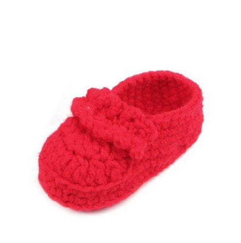 Smile YKK Gestrickte Baby Schuhe Krabbelschuhe flauschige Länge 11 cm Sonnenblume Pink Rot L