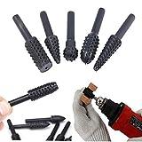 5 Unids/set Negro HSS Rotary File Mini Broca Herramientas de Corte Para Carpintería Cuchillo Herramienta de talla de madera