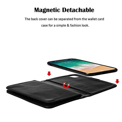xhorizon MLK étui en Cuir de Haute Qualité Portefeuille Porte-monnaie Magnétique Amovible Détachable Séparable Sac à Main Souple Compartiments Couvercle pour Cartes Multiples pour iPhone X / iPhone 10 Noir +9H Glass Tempered Film