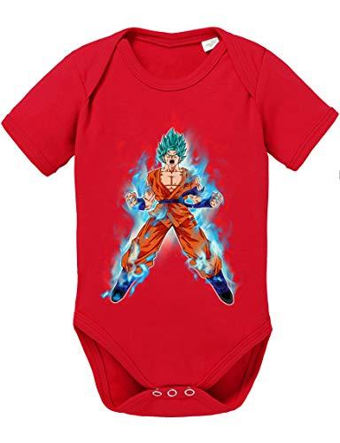 Goku Blue Fire Baby Dragon Son Ball Strampler Bio Baumwolle Body Jungen & Mädchen 0-12 Monate, Größe:56/0-2 Monate, Farbe:Rot