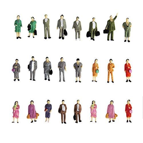 Newin Star 24 Stück Menschen Figuren für Modellbau 1:87 Modelleisenbahn Figuren in Verschiedenen Stehenden Halterungen