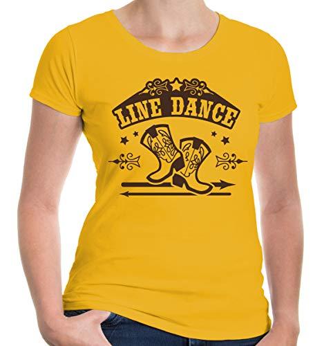 buXsbaum Damen Kurzarm Girlie T-Shirt Bedruckt Line Dance | Volkstanz Gruppentanz Country | S Sunflower-Brown Gelb