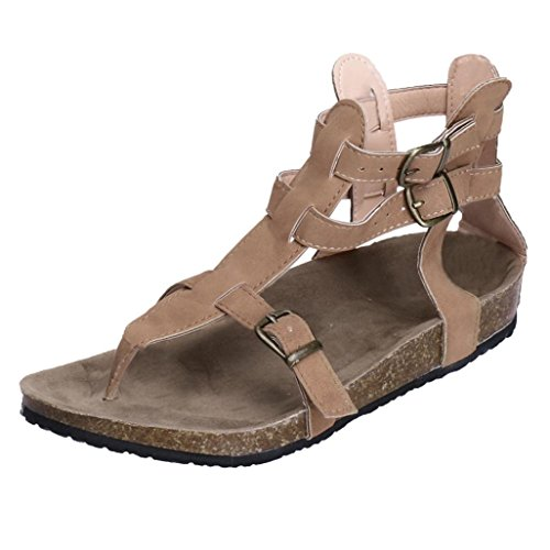 Damen Sandalen 2018 Xinantime Fashion Schnallen Gladiator Flache Ankle Beach Römische Hausschuhe Schuhe Frauen Schwarz/Beige/Braun 35-44 (EU 42, Beige)