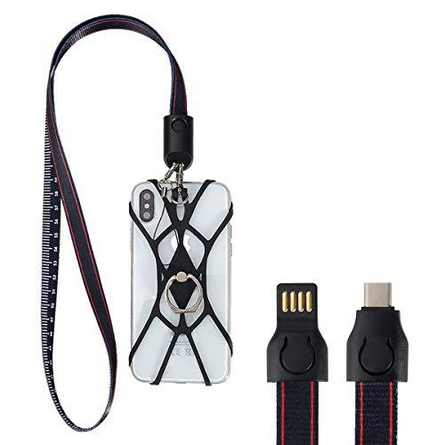takyu USB C Kabel, USB Type C Ladekabel mit Silikon Bänder und Fingerhalter für Galaxy S8/S8 Plus/S9/Note 9, Google Pixel XL, LG V20/V30/G5/G6, One Plus 5 3T, Nintendo Switch Schwarz Samsung Stripe