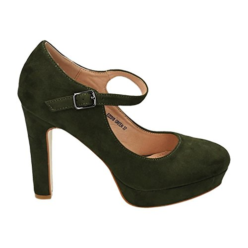 Klassische Trendige Damen Mary Jane Riemchen Pumps Plateau Sandaletten Party High Heels Peep Toes 18 Grün