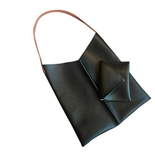 Borsa Di Shopping In Pelle Artificiale, Donna Grande Capacità Borsa Shopping Bag Tote Spalla Spiaggia Borse by Kangrunmy Nero